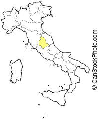 Map of Italy, Umbria highlighted - Political map of Italy...