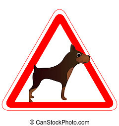 Warning sign with a funny brown Dog