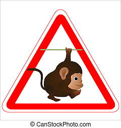 Warning sign with a funny Monkey