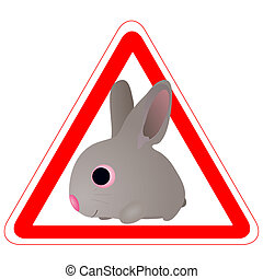 Warning sign with a funny Rabbit