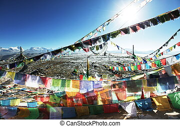 Tibetian landscape - Buddhist prayer flags