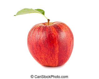 Red apple with green leaf - Ripe red apple with green leaf...