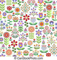 Seamless floral pattern - Seamless pattern with colorful...