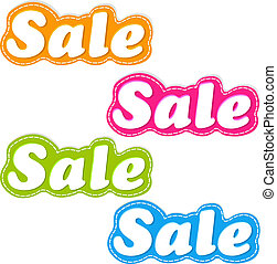 Color Sale Stickers Set - 4 Color Sale Stickers Set,...