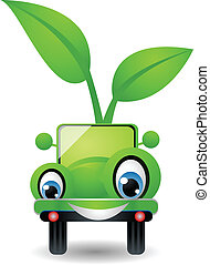 cartoon car with green concept