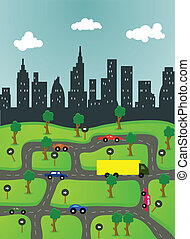 illustration of life in the city - vector illustration of...