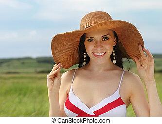 Smiling brunette girl summer day - Smiling brunette girl in...