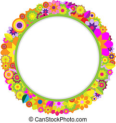 Circle Of Color Flowers And Birds