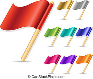 Flags - 9 Color Flags, Isolated On White Background, Vector...