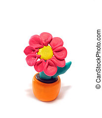 Plasticine flower - Red flower in a pot. It is made of...