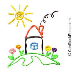 Plasticine, pequeño, casa