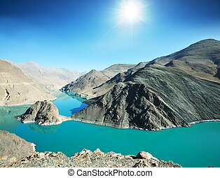 Tibetian lake - Holy lake in Tibet from Simi-la pass