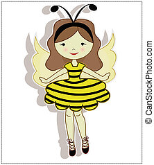 Pretty cute girl bee - My dear girl, dressed in a bee...