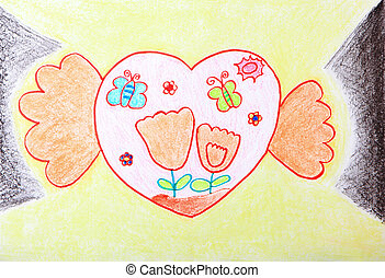 Child Painting - two hands holding sweet love heart with...