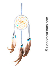 Dream catcher - Blue dream catcher isolated on white...