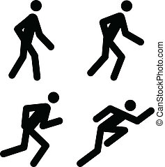 Running Pictograms - Racing, Jogging, Running, Walking -...