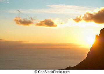 tramonto, sopra, mare