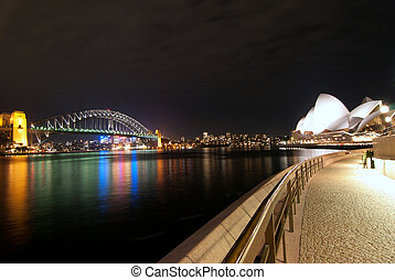 Sydney Harbour At Night fisheye