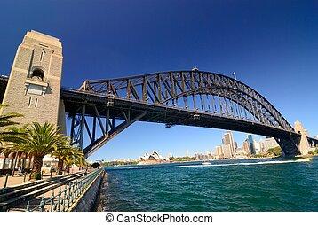 Sydney Harbour Skyline - Sydney harbour skyline - blue sky,...