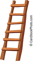 wooden ladder - An illustration of a wooden ladder on white