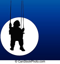 baby swings on a swing in the moonlight illustration