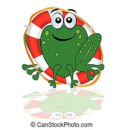 frog with red lifesaver vector illustration
