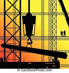construction worker supervise the work illustration on...