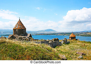 Seagull on lake Sevan - The 9th century Armenian monastery...