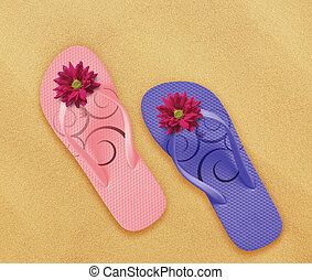 beach flip flops - a pair of flip flops on the beach sand,...