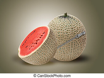 Melon and red water melon inside with zipper, ideal for mix...