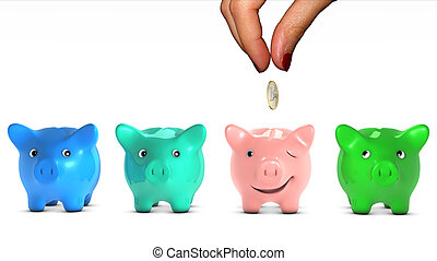 Womans hand choosing a piggy bank and giving it a piece of...