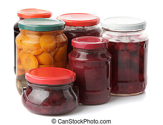 Various jams and compotes isolated on white