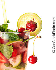 Strawberry mojito in glass isolated on white