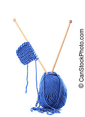 Knitting isolated - Knitting close up with blue woven thread...