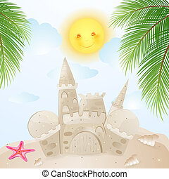 Summer background with castle sand