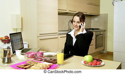 happy businesswoman at home