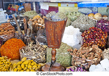 Exotic Spice - Various sorts of spice sold at the souk in...