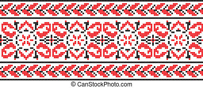 Ukrainian cross-stitch ornament - Vector
