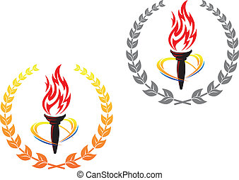 Flaming torches in laurel wreathes