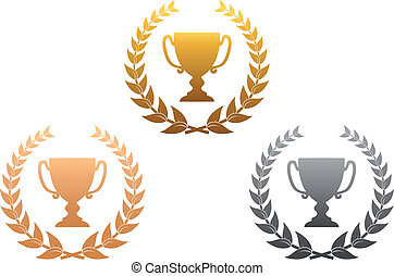 Golden, silver and bronze awards with laurel wreath for...