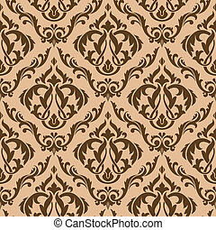 Tracery brown seamless pattern