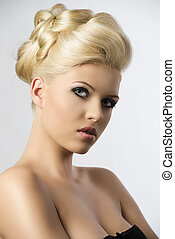 blonde hair style, the girl head is folded - very pretty...