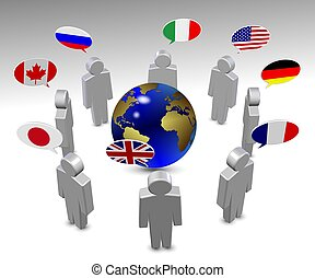 G8 language - members of G8 group in a circle speaking in...