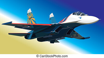 Air fighter in air - Vector illustration jet fighter in air...