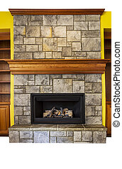 Gas Insert Fireplace with accents walls and shelves - Full...