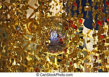 esferas, oropel, oro, espejo