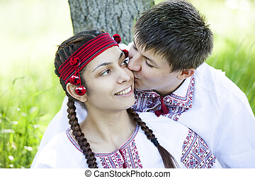 Slav girl and young cossack at nature. - Slav girl and young...