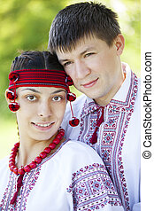 Slav girl and young cossack at nature