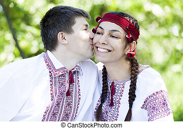 Slav girl and young cossack at nature - Slav girl and young...