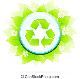 Recycling Symbol with Leaves and Flowers